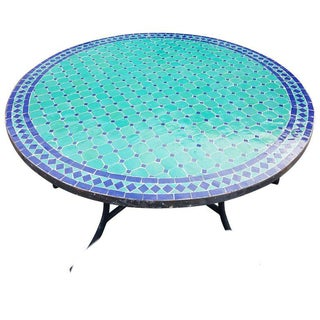 Moroccan Round Mosaic Table in Blue / Aqua For Sale