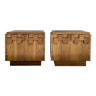 1960s Lane Brutalist Sculptured Door Front Nightstands - a Pair For Sale