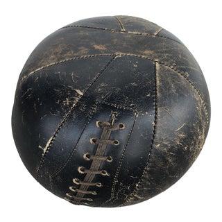 Vintage Leather Medicine Ball Ottoman For Sale
