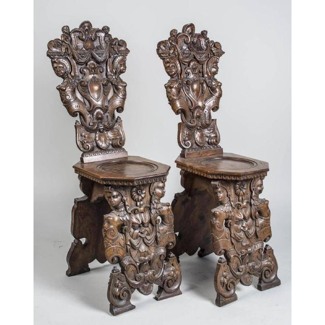 19th Century Gothic Carved Hall Chairs - a Pair For Sale - Image 4 of 7