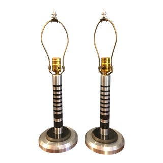 Stacked Aluminum Machine Age Table Lamps in the Style of Walter Von Nessen - a Pair For Sale
