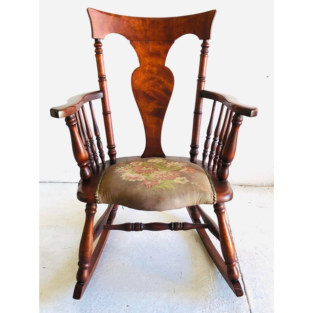 Wood Antique Rosewood Tapestry Rocking Chair Victorian Vintage For Sale - Image 7 of 7