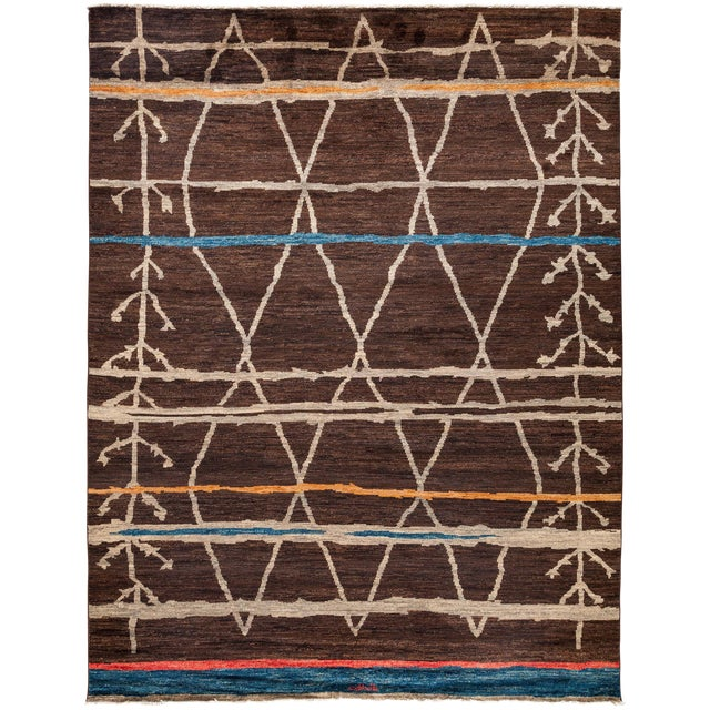 "Moroccan, Hand Knotted Area Rug - 9'1"" X 11'9"" For Sale"