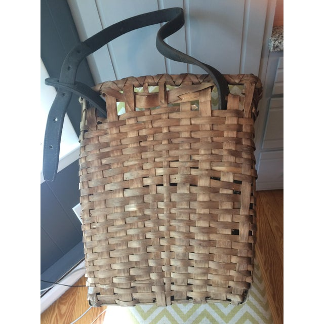 1950s 1950s Minimalism Leather and Wicker Picker's Basket For Sale - Image 5 of 8