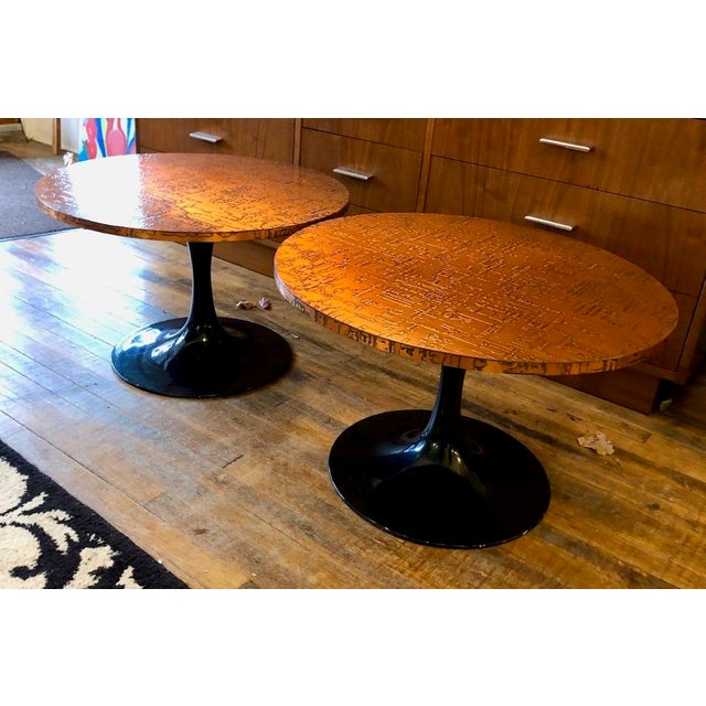 Mid-Century Modern Mid Century Modern Decorator Copper Top Tulip Side Tables- a Pair For Sale - Image 3 of 10