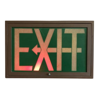 Vintage Illuminated Fiberglass Exit Sign
