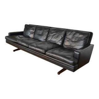 Fredrik Kayser for Vatne Mobler Leather & Rosewood Sofa For Sale