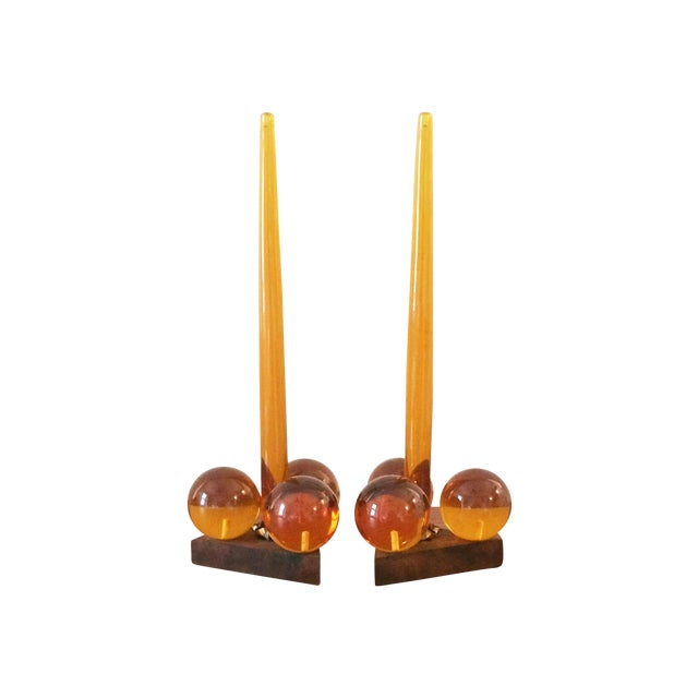 Vintage Amber Resin & Wood Candleholders - A Pair - Image 1 of 7