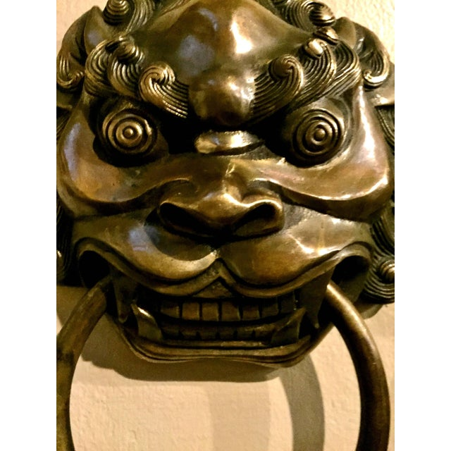 Pair Vintage Lion Brass Knockers Medium Size For Sale - Image 10 of 13