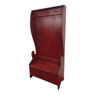 Rustic Settle Style Pine Red Painted Hall Bench For Sale