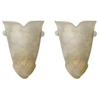 Off White Urn Shape Murano Glass Sconces - a Pair For Sale