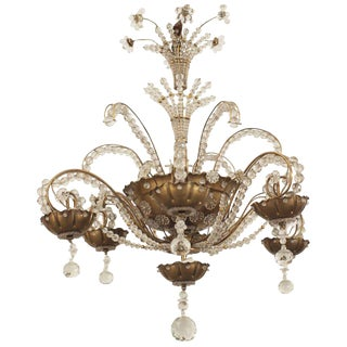 French 1940s Gilt Brass and Cut Glass Chandelier by Baguès For Sale