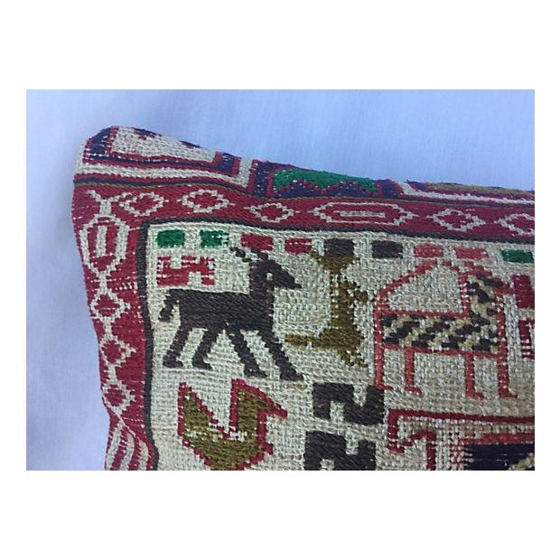Silk Sumak Rug Pillow W/ Animal Motif - Image 2 of 6