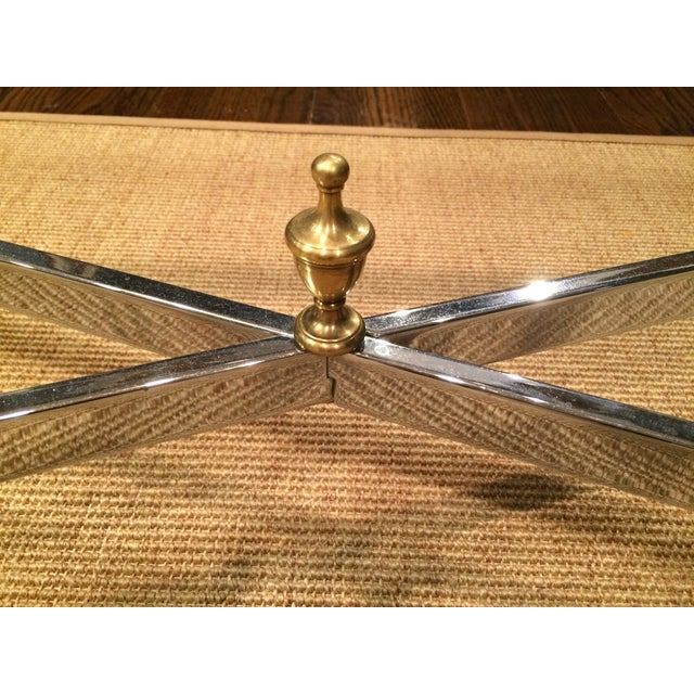 Large Hollywood Regency Brass & Glass Chrome Table - Image 3 of 5