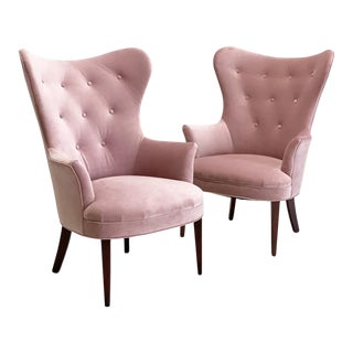 Mid Century Dusty Rose Occasional Lounge Chairs- A Pair For Sale