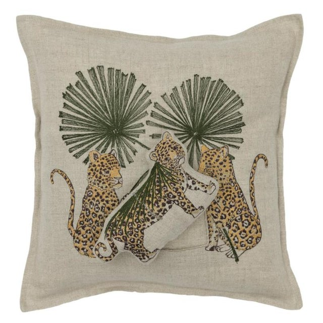 French Jaguar Palm Pocket Pillow For Sale - Image 3 of 5