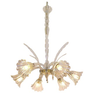 1930s Ercole Barovier Six-Light Crystal Clear Murano Glass Chandelier For Sale