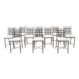 Set of 10 Vintage European Iron Patio Dining Chairs With White Outdoor Fabric For Sale