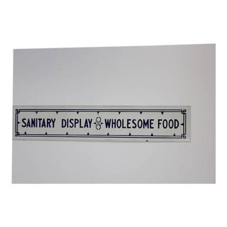 "1920s American ""Sanitary Display Wholesome Food"" Porcelain Sign For Sale"
