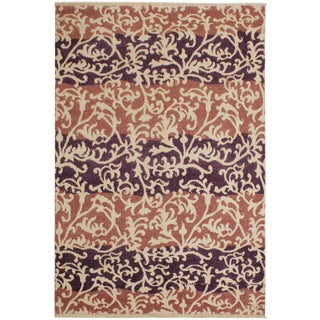 Niamh Modern Lanette Purple/Lt.red Wool & Viscouse Rug - 5'2 X 7'4 For Sale