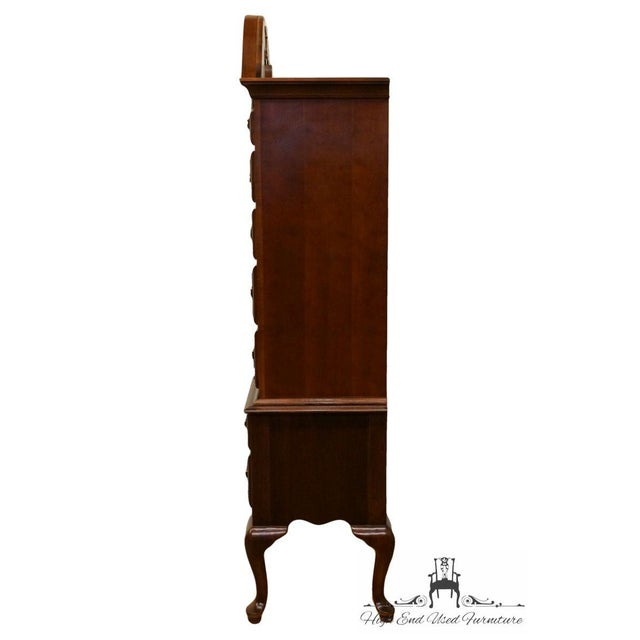 Brown 20th Century French Stanley Furniture Cherry Pediment-Top Highboy Chest For Sale - Image 8 of 13