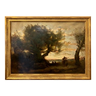 Antique French Landscape Oil Painting in the Manor of Camille Corot For Sale