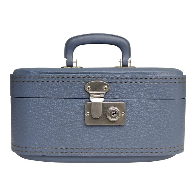 Vintage Blue Hardshell Train Case Suitcase Luggage Makeup Cosmetic Travel Case For Sale