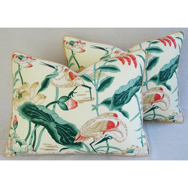 Egrets & Lotus Blossom Pillows - a Pair - Image 7 of 11