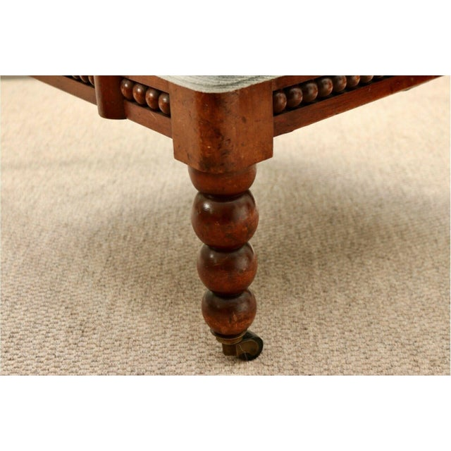 Classic 20th Century Upholstered English Bobbin Turned Lounge Chair on Castors For Sale - Image 4 of 12
