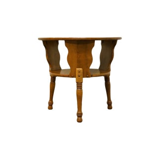 Ethan Allen Heirloom Nutmeg Round Drum Accent Table For Sale