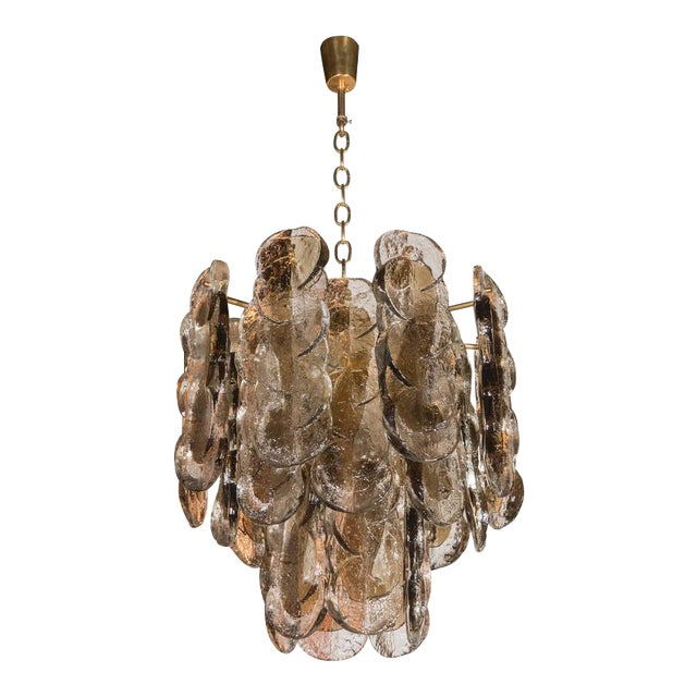 Murano Glass Chandelier Designed by J.T. Kalmar of Austria, Fabricated by Seguso For Sale