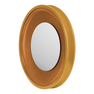 Round Floating Mirror in Mayan Gold / Saddle Tan - Jeffrey Bilhuber for The Lacquer Company For Sale