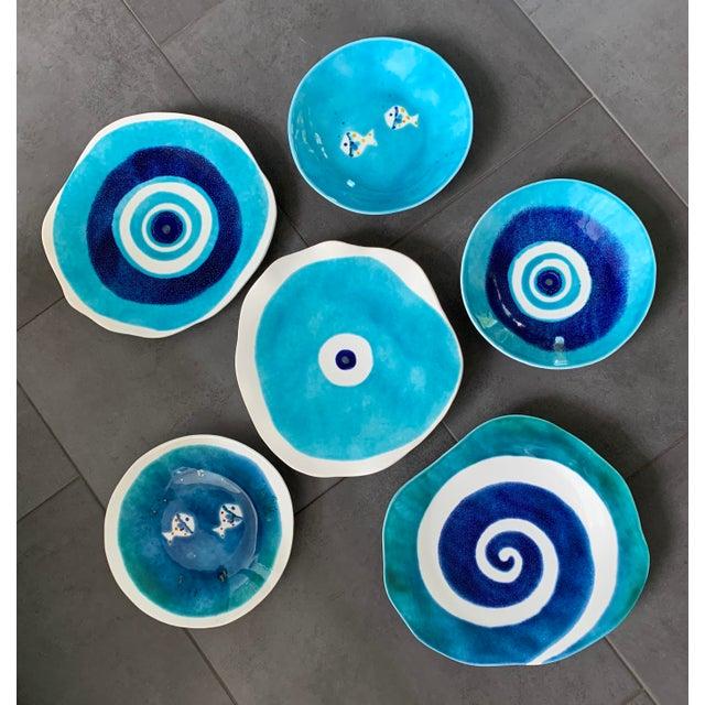 Modern Mediterranean Handmade Glazed Pottery Platter, Evil Eye 2 For Sale - Image 4 of 8