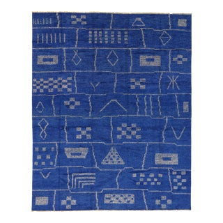 New Contemporary Blue Moroccan Area Rug With Modern Bauhaus Style - 12'4 X 15'3 For Sale