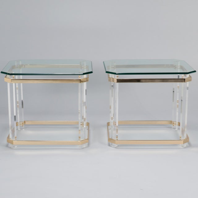 Mid-Century Modern Pair Mid Century Lucite Brass and Glass Side Tables For Sale - Image 3 of 11