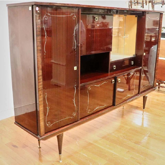 Metal Large Mid-Century Modern Italian Mahogany China Cabinet Bar Manner of Gio Ponti For Sale - Image 7 of 13