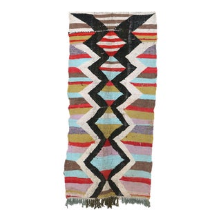 "Moroccan Kilim Boucherouite Rug- 3'2"" X 7'5"" For Sale"