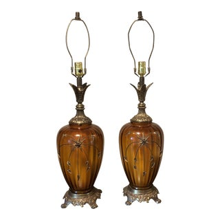 Frederick Cooper Amber and Bronze Table Lamps - a Pair For Sale