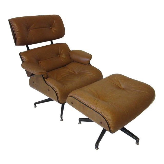 Selig Swiveling Leather Lounge Chair and Ottoman For Sale