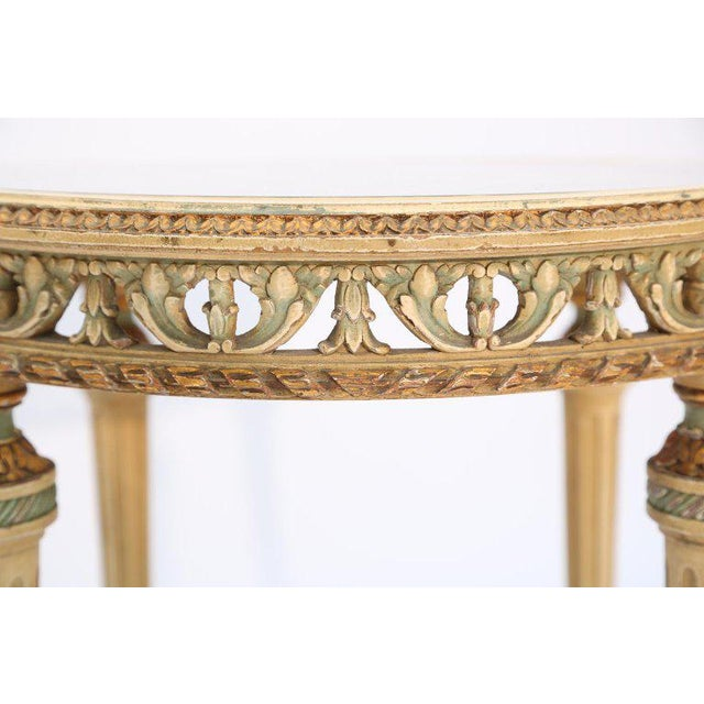 Wood 19th Century Painted French Occasional Table Inset With Mirrored Top For Sale - Image 7 of 8