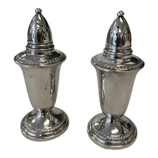 Mid-Century Crown Sterling Silver Salt & Pepper Shakers- a Pair For Sale