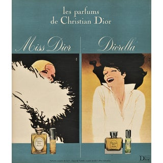 Matted Vintage French Dior Perfume Print by Gruau For Sale