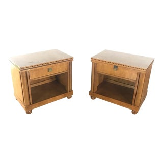 Contemporary Hickory White Inlaid Night Tables - a Pair For Sale