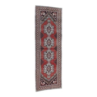 Turkish Runner in Brick Red With a Brown Border - 3″ × 10″