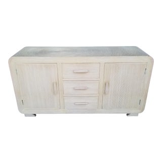 Gabriella Crespi Attribute Pencil Reed Rattan Cabinet For Sale