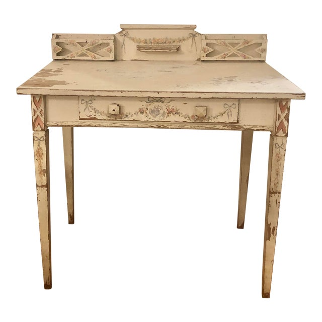 Antique Shabby Chic Hand Painted Floral Writing Desk For Sale