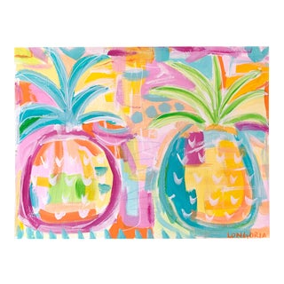 """Pineapple BFF's"" Abstract Painting by Christina Longoria For Sale"