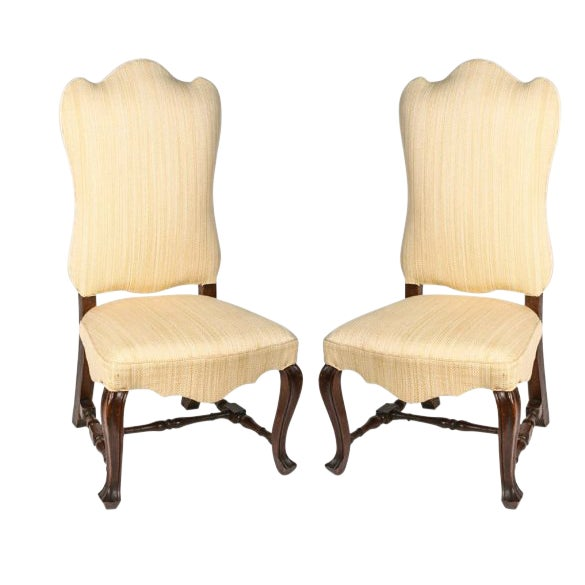19th Century Vintage Walnut Italian Side Chairs- A Pair For Sale