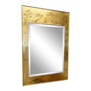 1980s LaBarge Reverse Painted Glass Chinoiserie Mirror For Sale