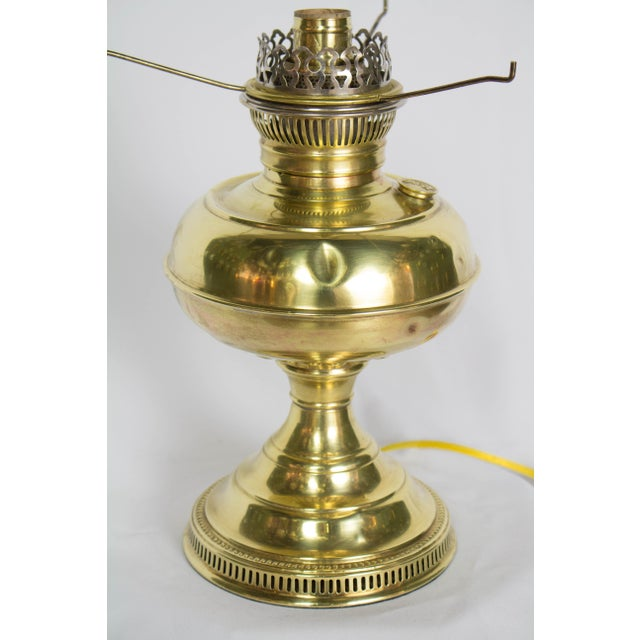 Early 20th Century Restored Antique Brass Rayo Oil Lamp, Electrified For Sale - Image 5 of 8